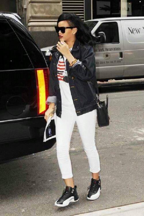 "43cbd73c36f4 SneakerAlert  Rihanna Stepping Out in the Air Jordan ""Playoff"" 12 s ..."